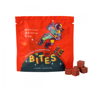 Appetizer of freeze dried strawberries BITES