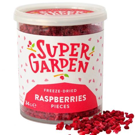 Pieces of freeze dried raspberries